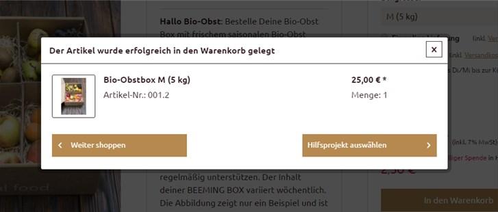 Beeming Box Bestellprozess