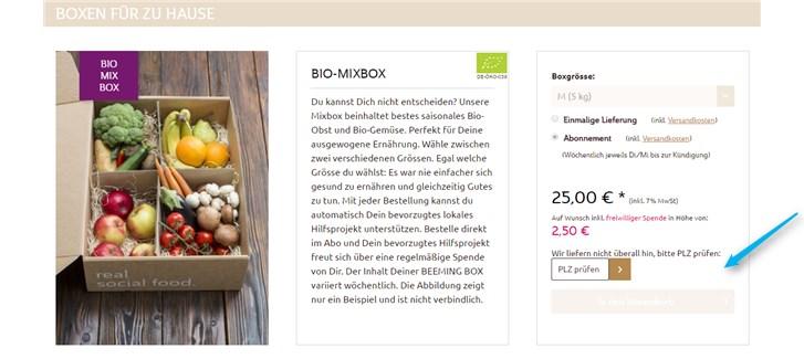Beeming Box Produktdetailseite