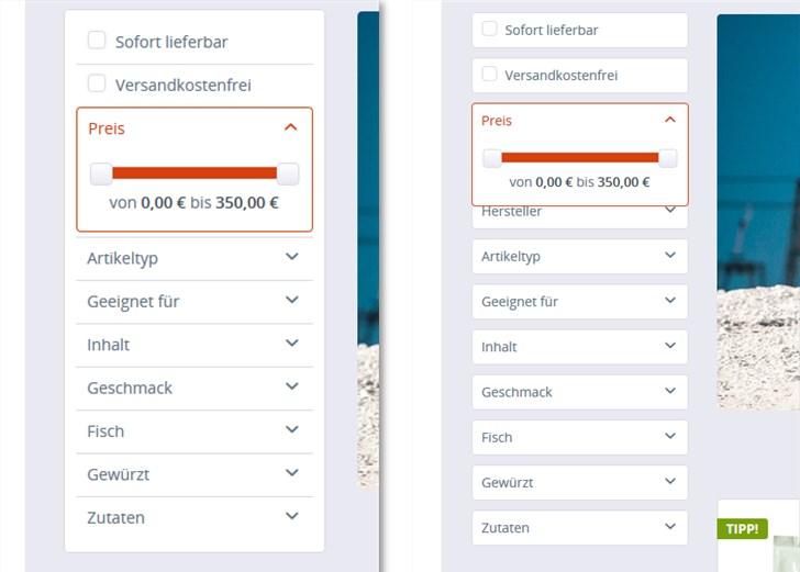 Testbericht Plugin Filter in linke Spalte / Sidebar Gestaltungsmöglichkeiten