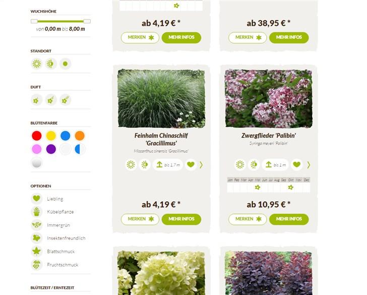 Native Plants Produktübersicht und Filteroptionen
