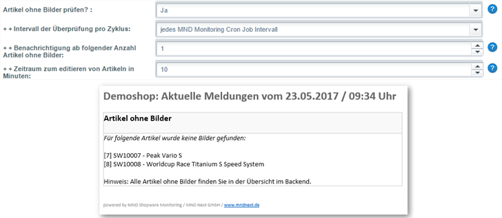 MND Next Shopware Monitoring Basic Plugin Artikel ohne Bilder