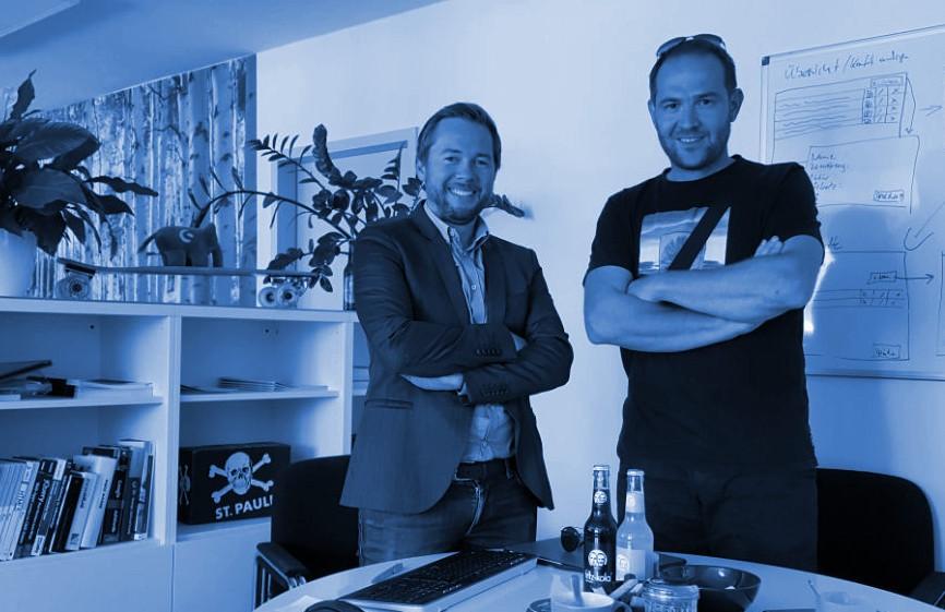 Gögelein Geschäftsführer Raphael Juchler und Digitalisierungsexperte Julius Lipp in der ShopDNS Redaktion